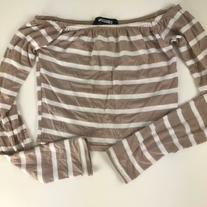 MISSGUIDED Long Sleeve Crop Top Size 2 Striped